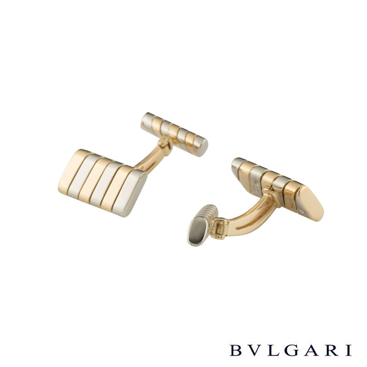 Bvlgari Yellow and White Gold Tubogas Cufflinks